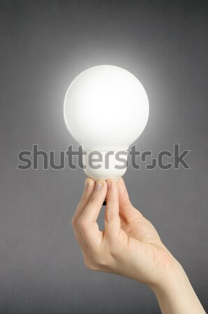 Stock photo: Hand with light bulb