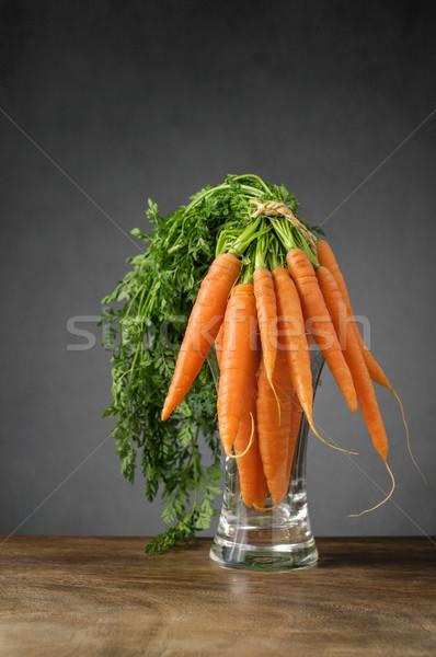 Vers wortelen glas vaas bos voedsel Stockfoto © CsDeli