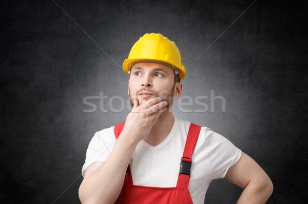 建設作業員 黄色 ヘルメット 業界 産業 ストックフォト © CsDeli