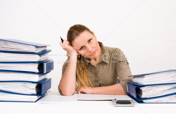 Mulher de negócios trabalhando documentos bem sucedido beleza trabalhador Foto stock © ctacik