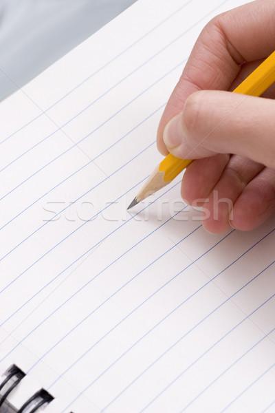 Lápis mão limpar nota escritório fundo Foto stock © ctacik
