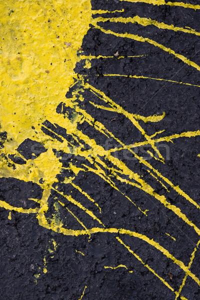 желтый краской стены черный цемент фон Сток-фото © ctacik