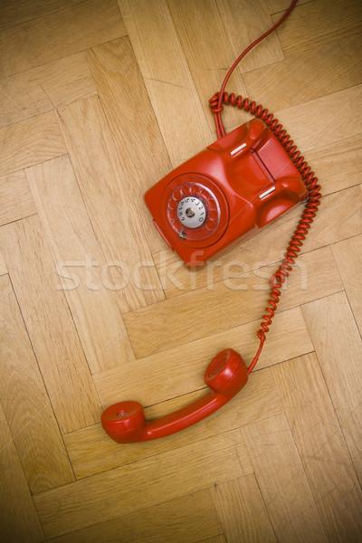 Vermelho telefone velho piso negócio Foto stock © ctacik