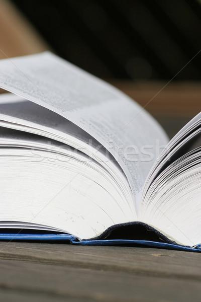 Buch offenes Buch alten Tabelle außerhalb schwarz Stock foto © ctacik