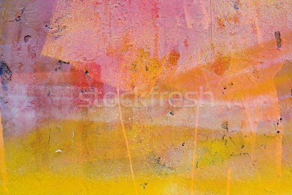 Amarelo vermelho pintado parede abstrato textura Foto stock © ctacik