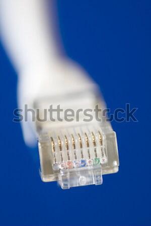 Stockfoto: Netwerk · kabel · witte · computer · internet · Blauw