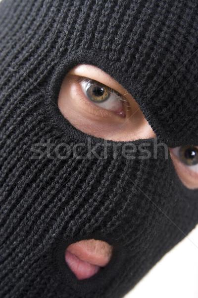 Bűnöző gonosz visel katonaság maszk férfi Stock fotó © ctacik