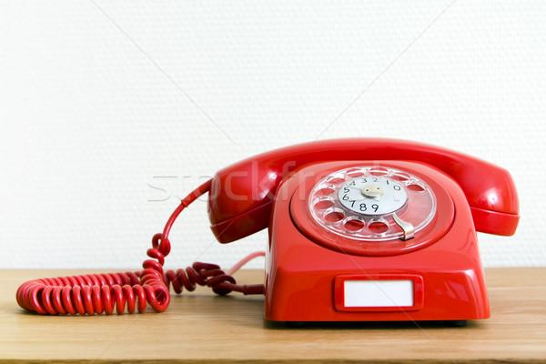 Vintage красный телефон бизнеса телефон контакт Сток-фото © ctacik