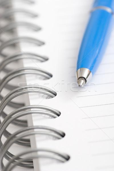 синий пер блокнот бумаги Сток-фото © ctacik