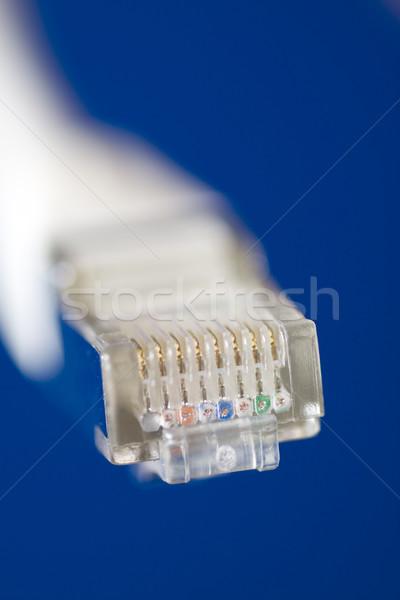 Netwerk kabel witte computer internet Blauw Stockfoto © ctacik