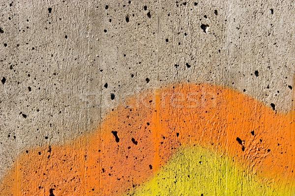 Pintar cimento parede abstrato arte laranja Foto stock © ctacik