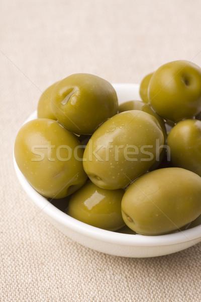 Azeitonas tigela completo alimentação saudável alimentação oliva Foto stock © ctacik