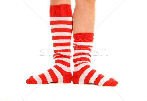 Engraçado listrado meias vermelho isolado branco Foto stock © ctacik
