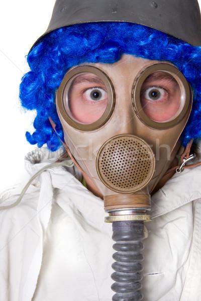 человек противогаз белый технологий весело маске Сток-фото © ctacik
