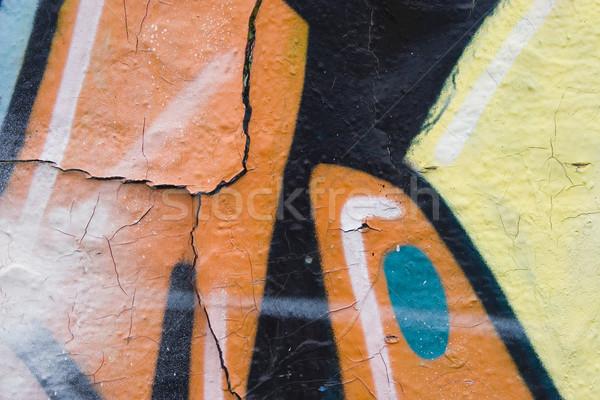 граффити аннотация желтый красный окрашенный стены Сток-фото © ctacik