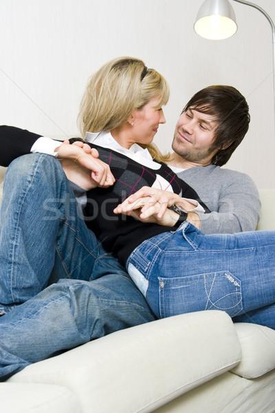 пару расслабляющая домой диван женщину человека Сток-фото © ctacik