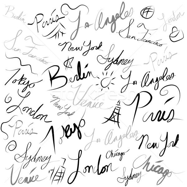 Seyahat konum el yazısı karalama görüntü siyah Stok fotoğraf © cteconsulting