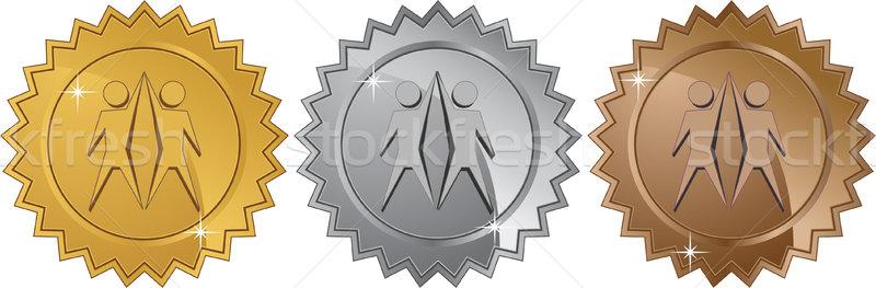 Teamwork Symbol - Set of 3 Seals Stock photo © cteconsulting