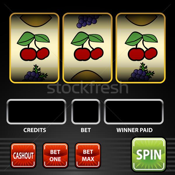 Játékautomata kép zöld fekete citrom cseresznye Stock fotó © cteconsulting