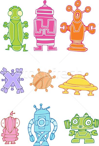 Görüntü komik yabancı yaratıklar sanat robot Stok fotoğraf © cteconsulting