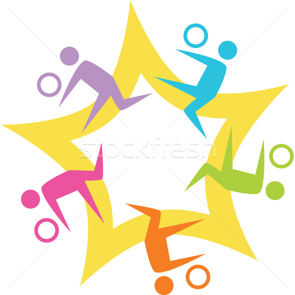 Teamwork Volleyball Starburst Stock photo © cteconsulting