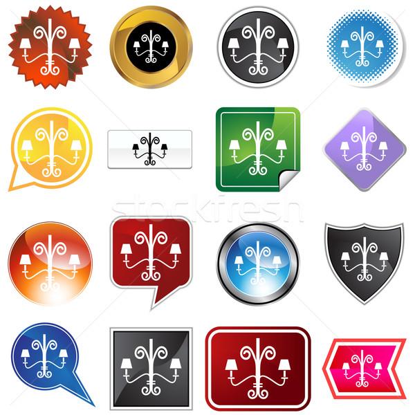 Lampadario icona isolato bianco luce design Foto d'archivio © cteconsulting
