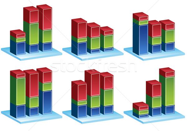 Foto stock: Variação · conjunto · 3D · coluna · gráficos