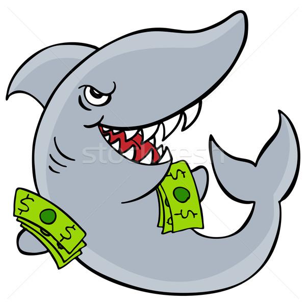 Pożyczka rekina obraz pieniężnych zły cartoon Zdjęcia stock © cteconsulting