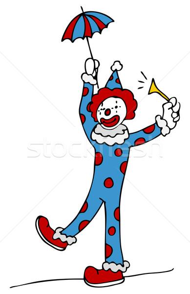Strakke koord lopen circus clown afbeelding tekening Stockfoto © cteconsulting