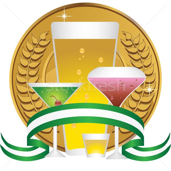 Italok érme koszorú szett kép italok Stock fotó © cteconsulting