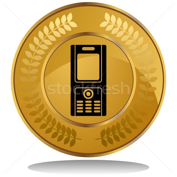 金貨 携帯電話 3D 画像 月桂樹 花輪 ストックフォト © cteconsulting