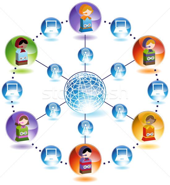 Stock fotó: Globális · gyerekek · hálózat · kapcsolódás · egyéb · körül