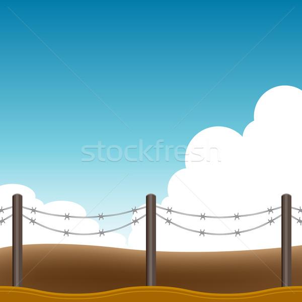 Drutu kolczastego ogrodzenia obraz niebo kraju graficzne Zdjęcia stock © cteconsulting