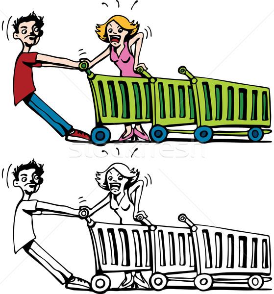 Vásárlók harcol kosár rajz kép kettő Stock fotó © cteconsulting