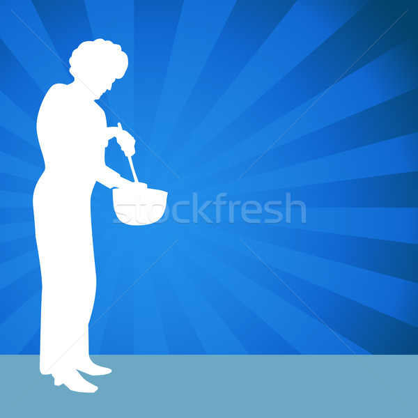 Woman Using a Mixing Bowl Stock photo © cteconsulting