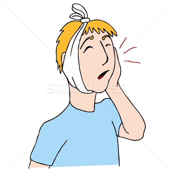 Mal di denti immagine uomo indossare testa fasciatura Foto d'archivio © cteconsulting