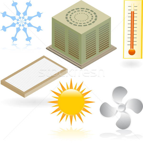 Heating and Cooling Icons Stock photo © cteconsulting