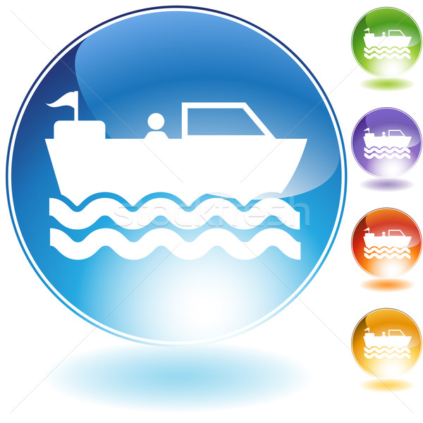 Motorboat Crystal Icon Stock photo © cteconsulting