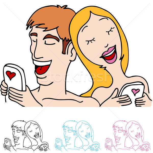 Couple in Love Sending Text Messages Stock photo © cteconsulting