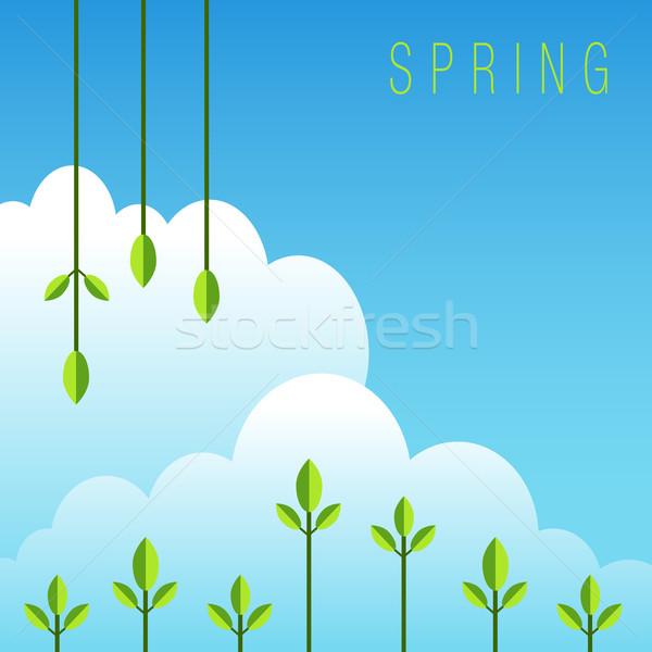 Tavasz ikon kép háttér művészet levelek Stock fotó © cteconsulting