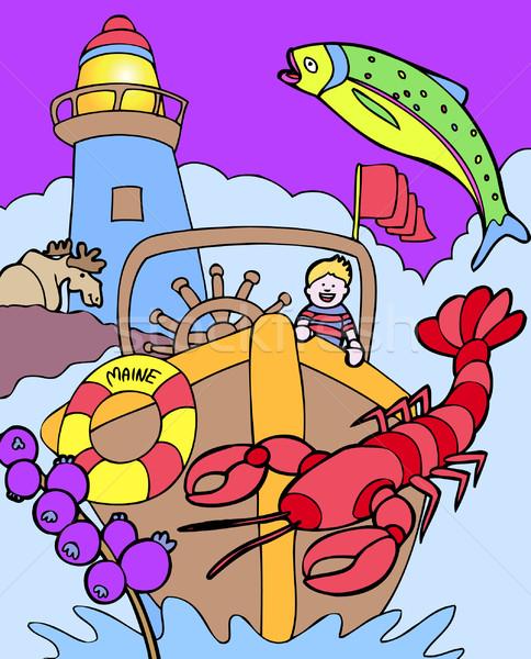 Gyerek Maine fiatal gyermek csónak szimbólumok Stock fotó © cteconsulting