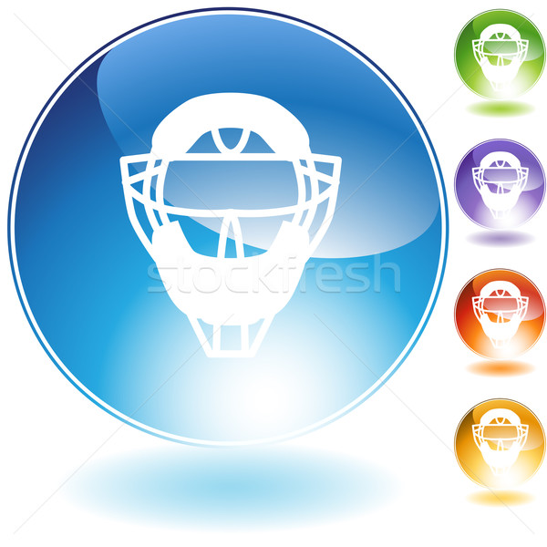 Umpire Mask Helmet Crystal Icon Stock photo © cteconsulting