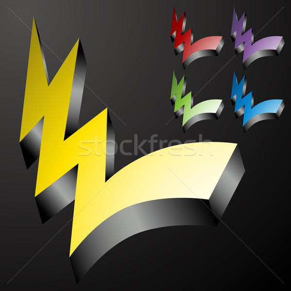 Three Dimensional Checkmark Lightning Bolts Stock photo © cteconsulting