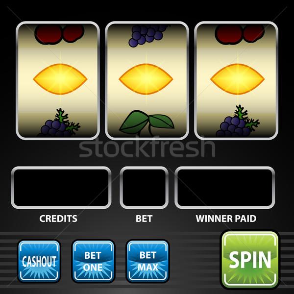 Három citrom játékautomata kép játék zöld Stock fotó © cteconsulting