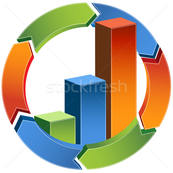 Stock photo: Process Bar Graph - 3D