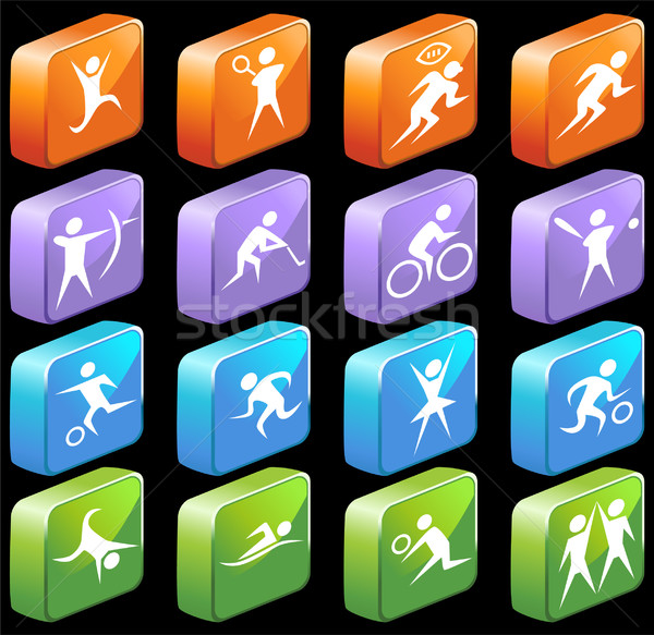 Athletic 3D Square Glossy Buttons Stock photo © cteconsulting
