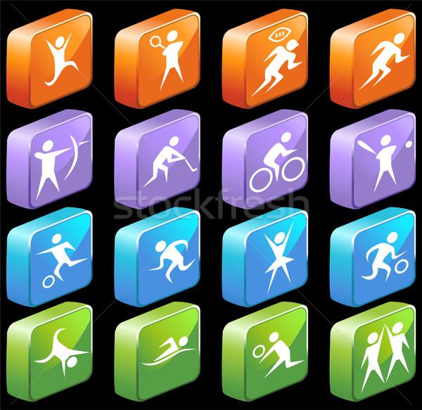 Athlétique 3D carré boutons ensemble Photo stock © cteconsulting