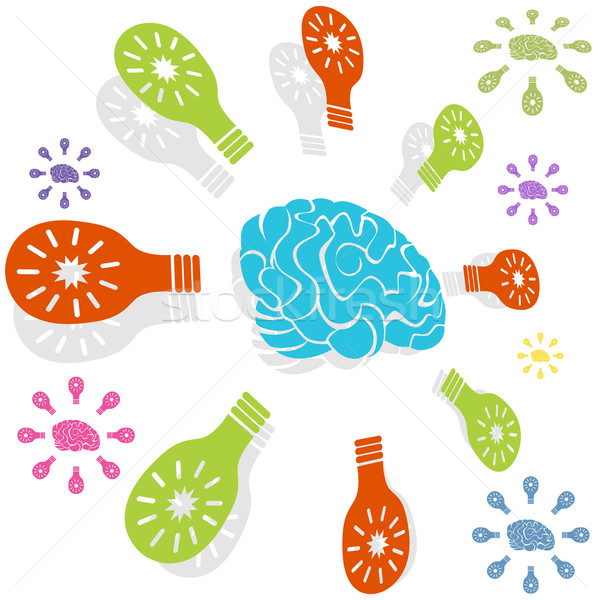 Inteligente idea círculo cerebro icono aislado Foto stock © cteconsulting