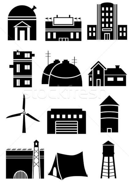 általános struktúra ikon szett feketefehér épület szimbólumok Stock fotó © cteconsulting