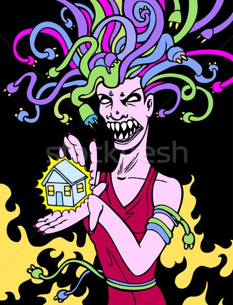 Güç tanrıça kadın kordon saç ev Stok fotoğraf © cteconsulting